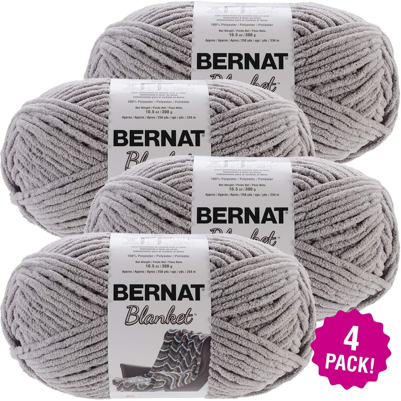 Bernat 99669 Blanket Big Ball Yarn-Pale Grey, Multipack of 4, Gray 4 Pack