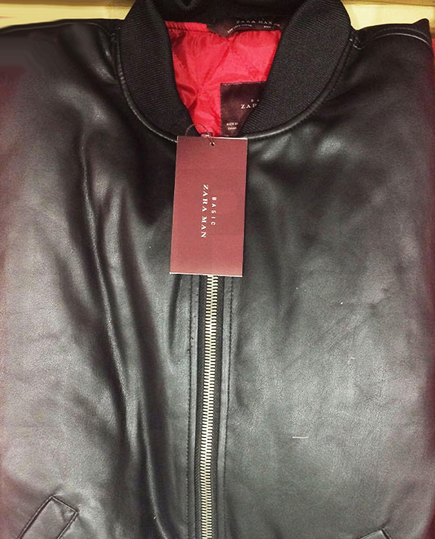 Zara hombres chaqueta de Bomber de piel sintética para 0706