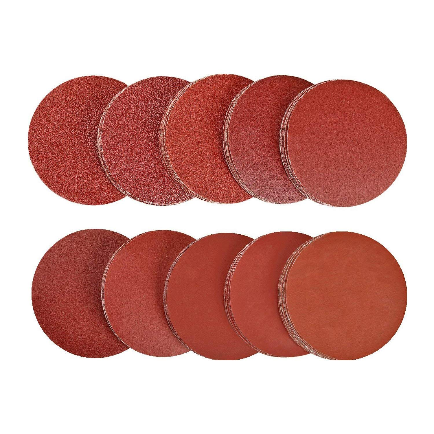 SPTA 100pcs 3 inch Sanding Discs Pad Kit for Drill Grinder Rotary Tools NO-Hole Aluminum Oxide Sanding Discs with Mix grit 40# - 2000# For Car Polisher, Air Sander,Rotary Polisher