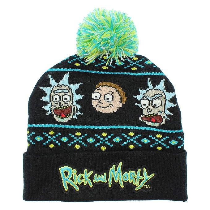 Bioworld Adult Swim Rick and Morty Magic Jacquard Pom Beanie Hat Black d5b265cf592