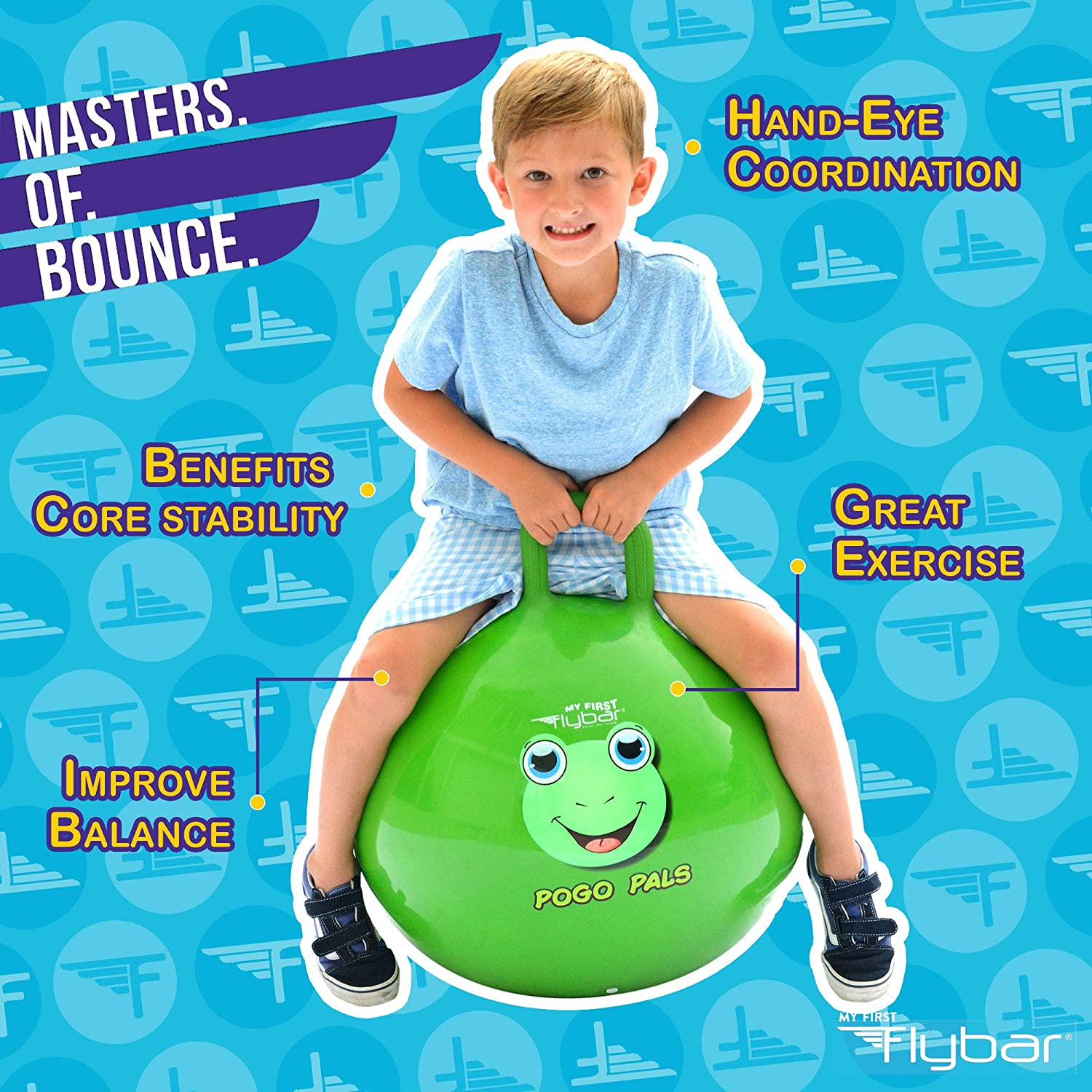 Balance Ball for Kids Frog Green, Small Air Pump Included Flybar My First Pogo Pals Hopper Ball for Kids Ages 3 and up Bouncy Ball with Handle