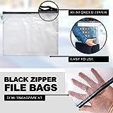 16-Pack Black Zipper Pouch (8 Sizes), Zipper File