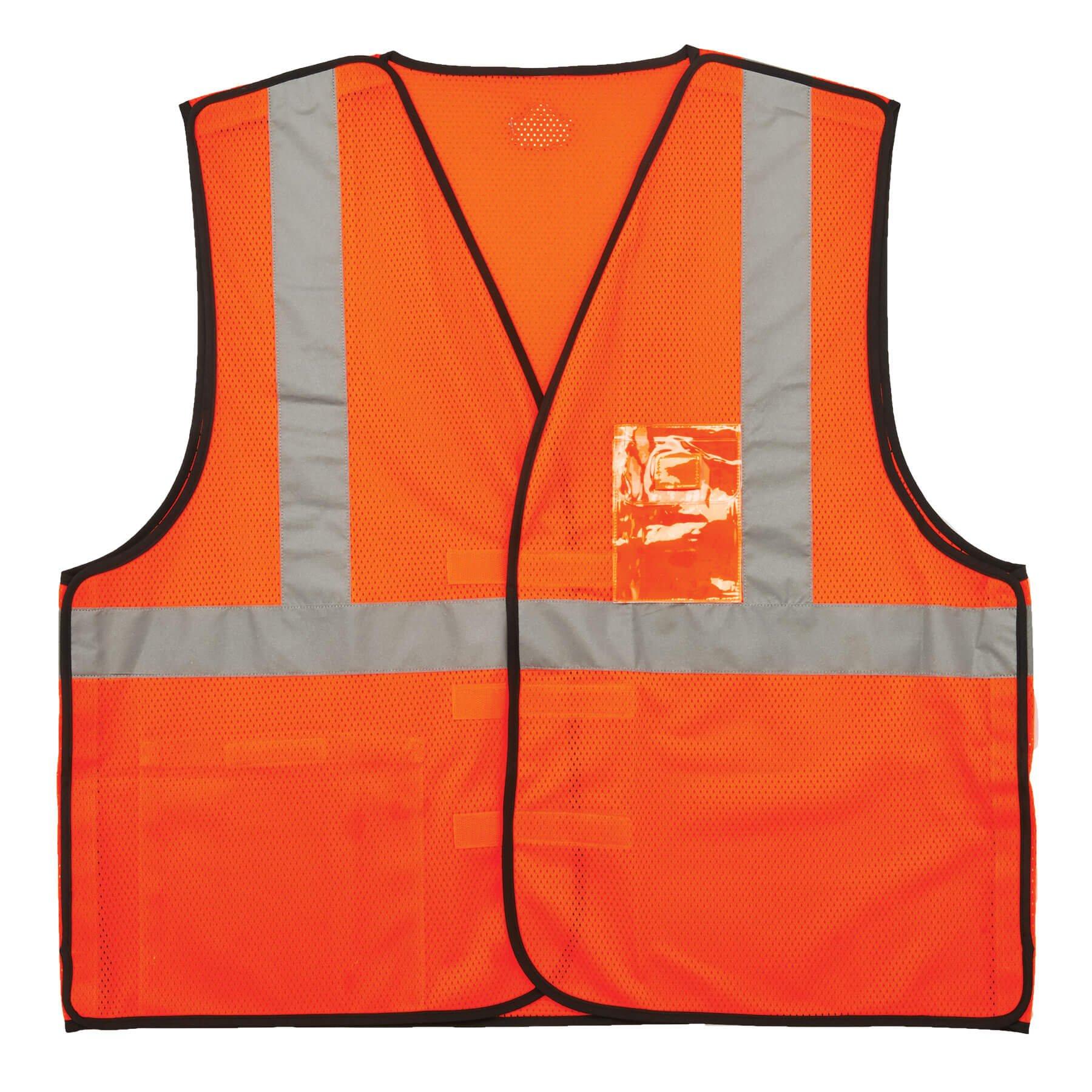 Ergodyne GloWear 8216BA ANSI High Visibility Breakaway Reflective Safety Vest with ID Badge Holder, Orange, Large/X-Large