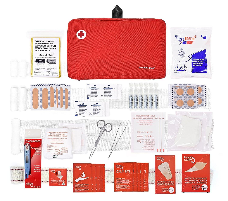Botiquín primeros auxilios SUPER ROL con 120 artículos indispensables para realizar curas de emergencia (NEGRO) Botiquín Sans BO181AMZ