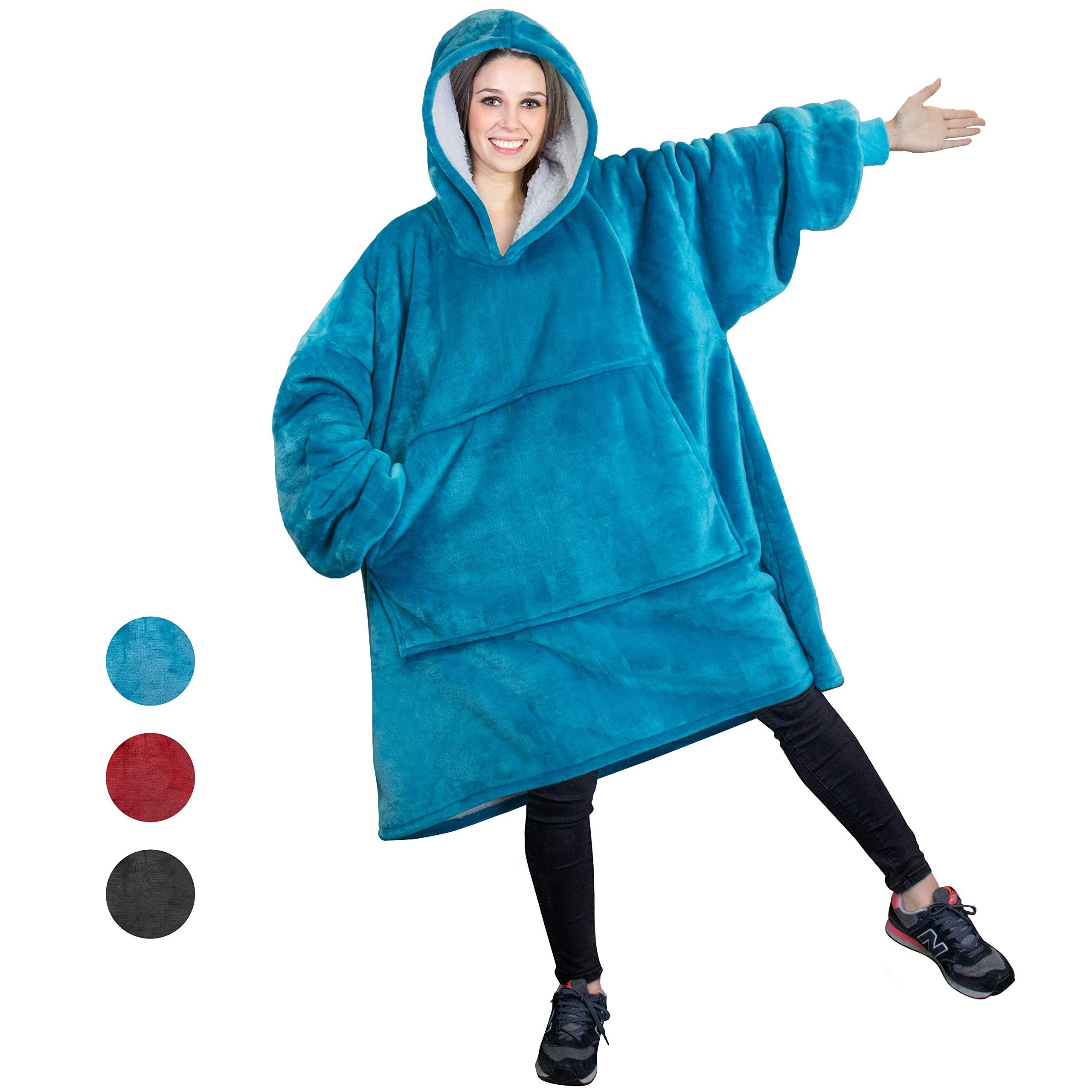 PAVILIA Sherpa Fleece Hoodie Blanket Sweatshirt for Adult Women and Men | Comfy, Cozy, Warm, Plush, Reversible | Turquoise Oversized Wearable Throw Blanket with Hood and Giant Pocket (Sea Blue)