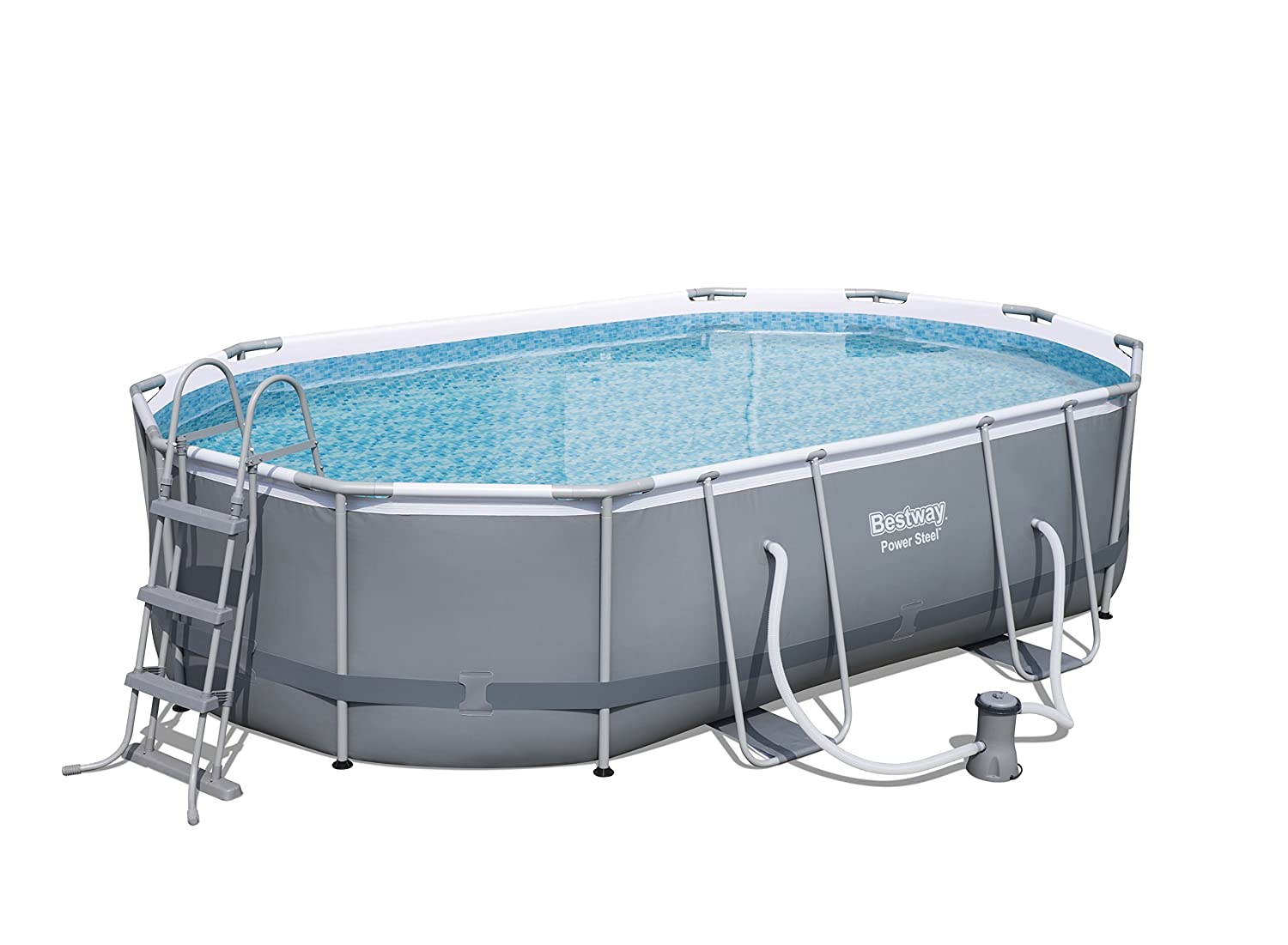 Bestway Power Steel Ovalado Frame Pool Set, Color Gris Oscuro con Bomba de Filtro + Accesorios, 488 x 305 x 107 cm.: Amazon.es: Jardín