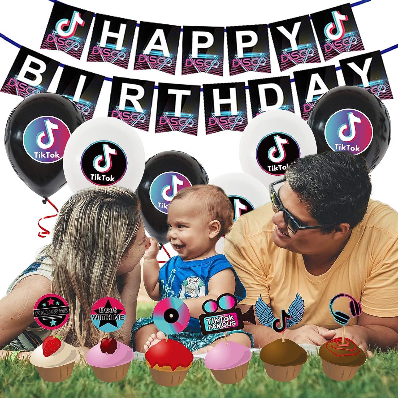 38 St/ück Partyzubeh/ör Set f/ür Junge M/ädchen Geburtstags Festival Dekoration Hochzeitsdekoration Babyparty Grillparty Yisscen Tik Tok Geburtstag Dekoration Set Happy Birthday Banner Dekoballon