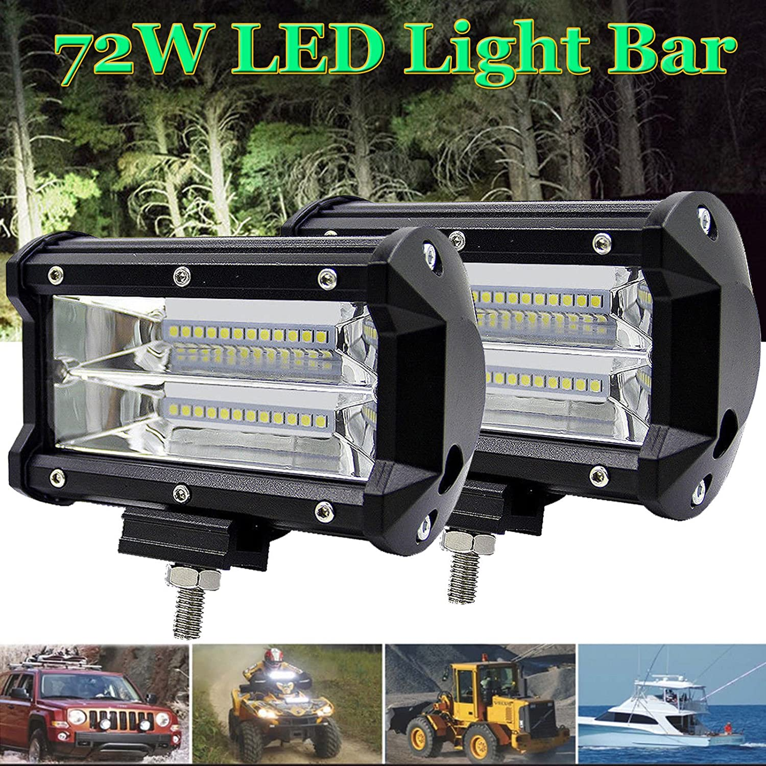 SUV Wagon Cab Spot Wide Beam 5 72W Bright White Driving Working Spotlight for Pickup Truck LED Work Lights Tractor LED Light Bars Offroad Truck 4WD 4X4 Bus Boat ATV