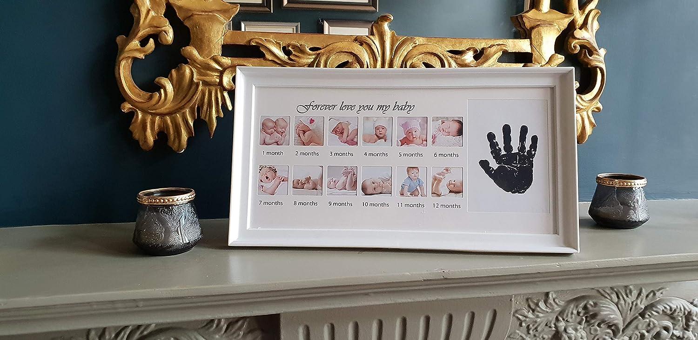 IsubUK Dise/ño de pies de Tinta Marco de Fotos para Reci/én Nacido