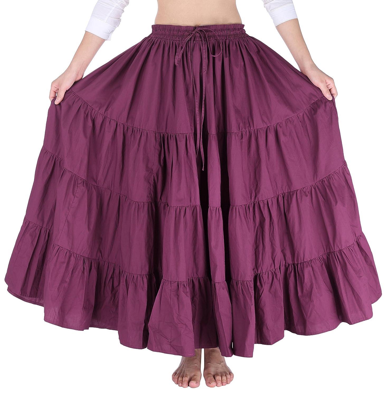 Saloon Girl Costume | Victorian Burlesque Dresses & History JS Fashion Vintage Dress Belle Poque Womens Solid Cotton Gypsy Boho Skirt Free Size BP207 $34.99 AT vintagedancer.com
