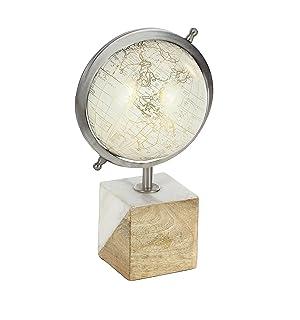 Deco 79 Mappamondo in Metallo e Legno, Bianco, Oro/Marrone/Argento, 45,7 x 25,4 cm, White/Gold/Silver/Brown, 13' x 8'