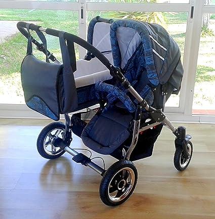 Carro doble niños diferentes edades. Un capazo+2 sillas+accesorios. Gris+