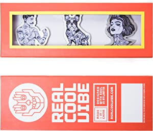 Premium Quality Aluminum Refrigerator Magnet Gift Set by Real Cool Vibe Featuring A Tattooed Man, Dog, and Woman