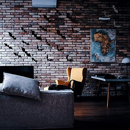 4 Tailles, Noir SAVITA 48 pi/èces Chauves-Souris 3D Stickers muraux dhalloween pour Fournitures de f/ête dhalloween D/écor r/éaliste