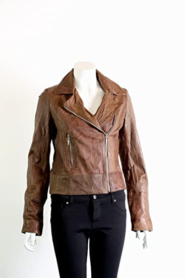 5a0aa42b0c81 Radfordleathers Ladies Leather Biker Jacket Brown UK Size 22: Amazon.co.uk:  Clothing