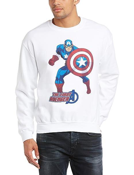 Marvel Avengers Assemble Captain America The First Avenger, Sudadera para Hombre, Blanco 2XL: Amazon.es: Ropa y accesorios