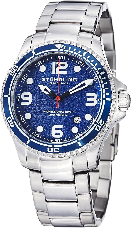 "Stuhrling Original Mens ""Specialty Grand Regatta"" Stainless Steel Professional Swiss Quartz Dive Watch with Date"