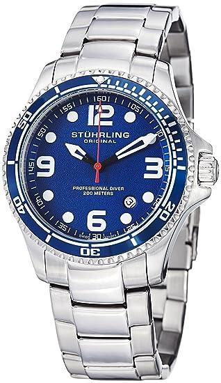 Stuhrling Blue cara relojes de buceo para hombres Cuarzo suizo 200 metros Resistente al agua sólido pulsera de acero inoxidable tornillo abajo corona ...