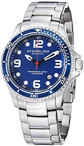 "Stuhrling Original Mens ""Specialty Grand Regatta"" Stainless Steel Professional Swiss Quartz Dive Watch Men at amazon"