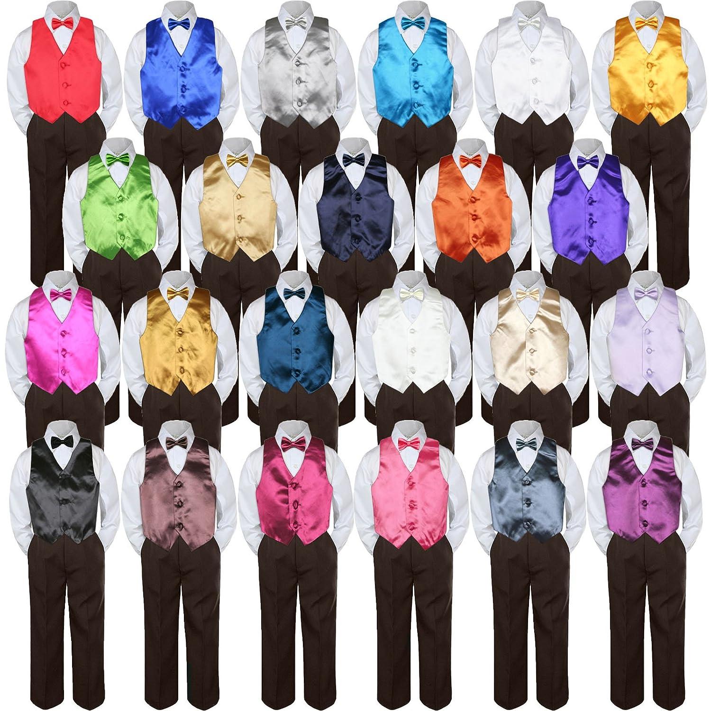 Leadertux 4pc Baby Toddler Boys Orange Vest Bow Tie Brown Pants Suit Outfits S-7 3T