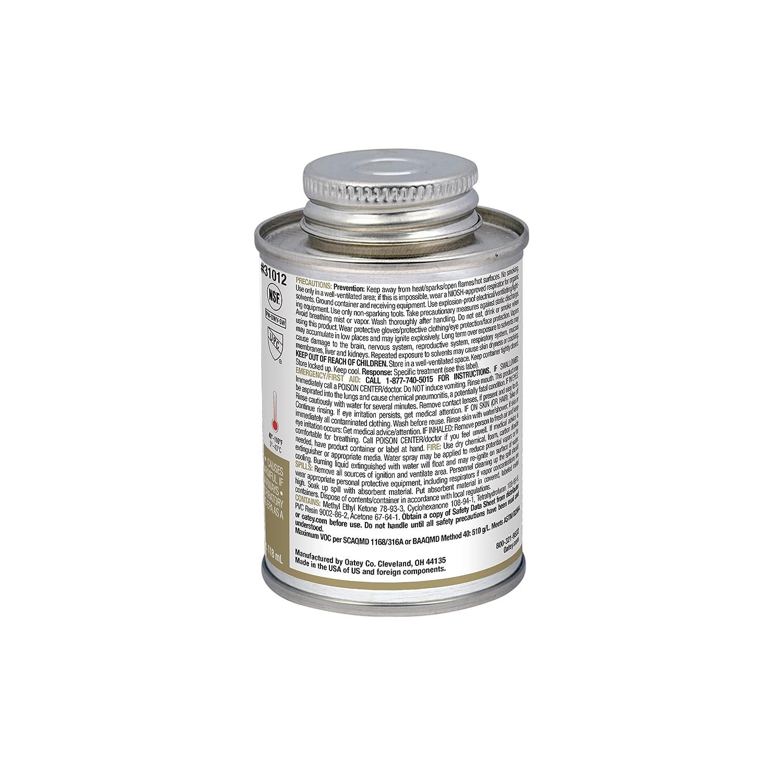 Oatey 31012 PVC Regular Cement, Clear, 4-Ounce