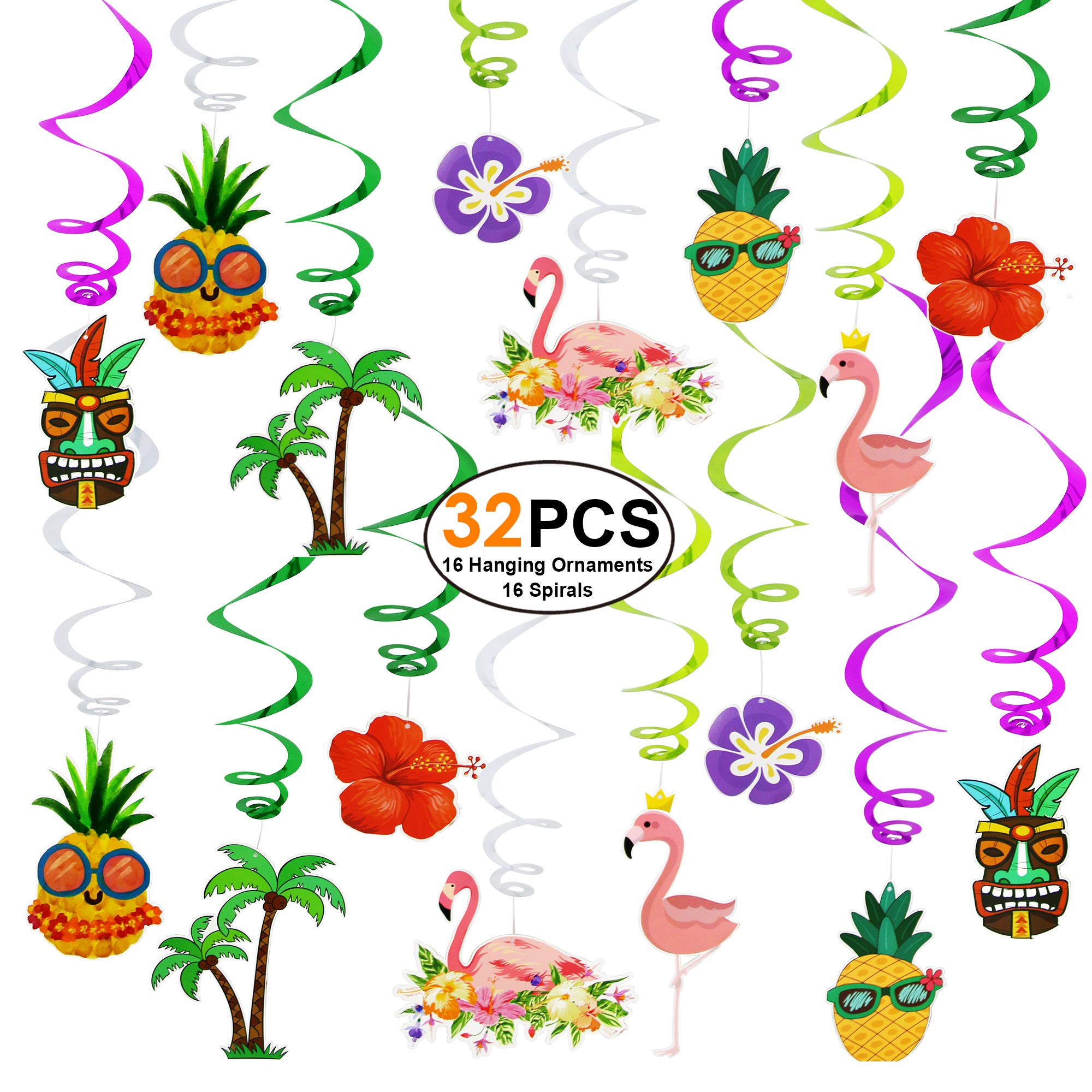 Hawaiian-Decorations-Luau-Party-Supplies 32 PCS Flamingo Hanging Swirls Decortions Ceiling Ornaments for Kids Boys Girls Theme Birthday Party, Baby Shower Party, Home, Bedroom