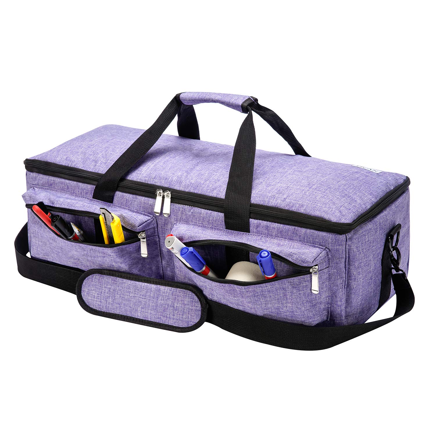 PICAN Foldable Lightweight Carrying Bag Compatible with Cricut Explore Air and Maker, Tote Bag Compatible with Cricut Explore Air 2 and Silhouette Cameo 3 (Purple with Thick Pad)