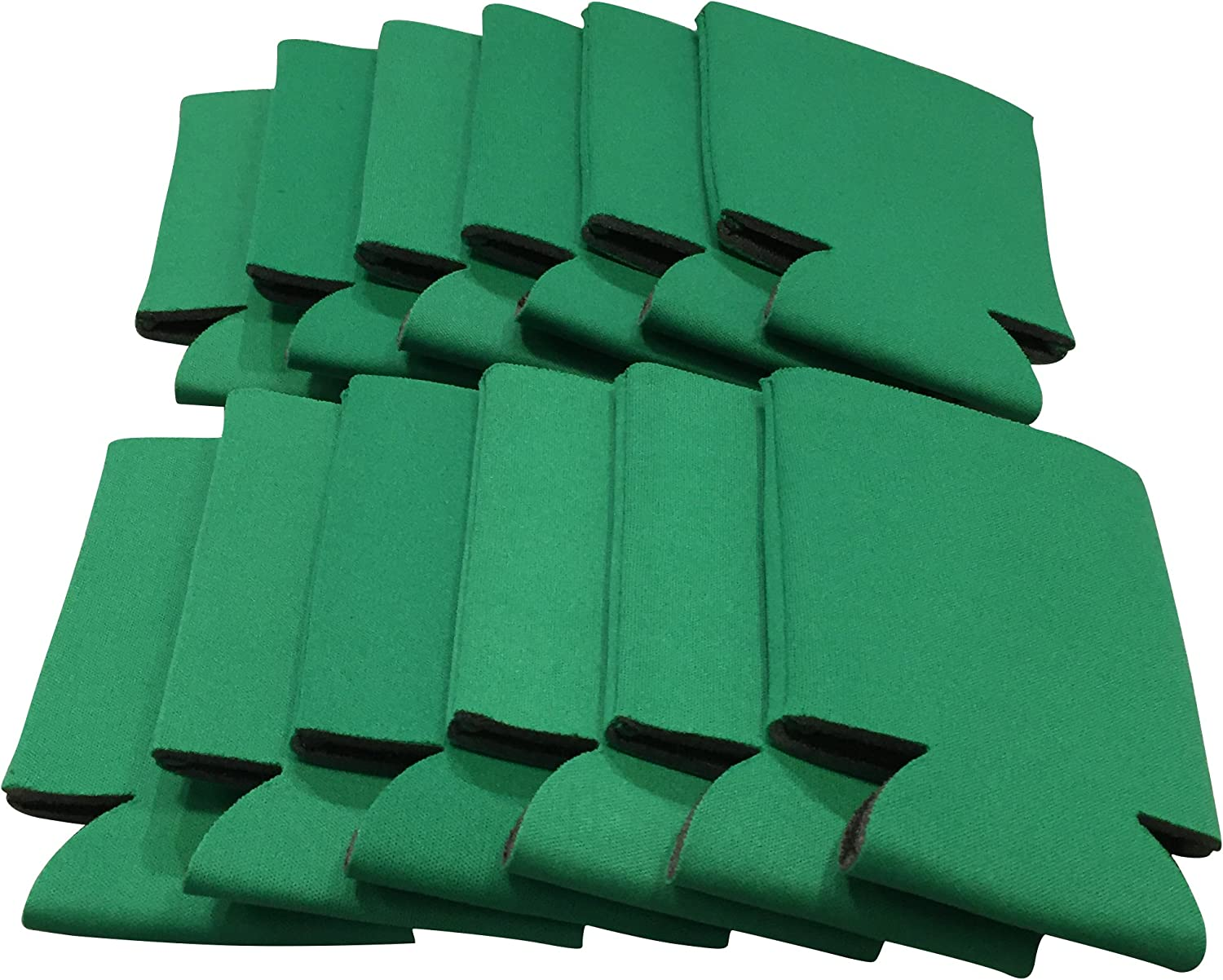 CSBD Beer Can Coolers Sleeves, Soft Insulated Reusable Drink Caddies for Water Bottles or Soda, Collapsible Blank DIY Customizable for Parties, Events or Weddings, Bulk 25 Pack (Green)