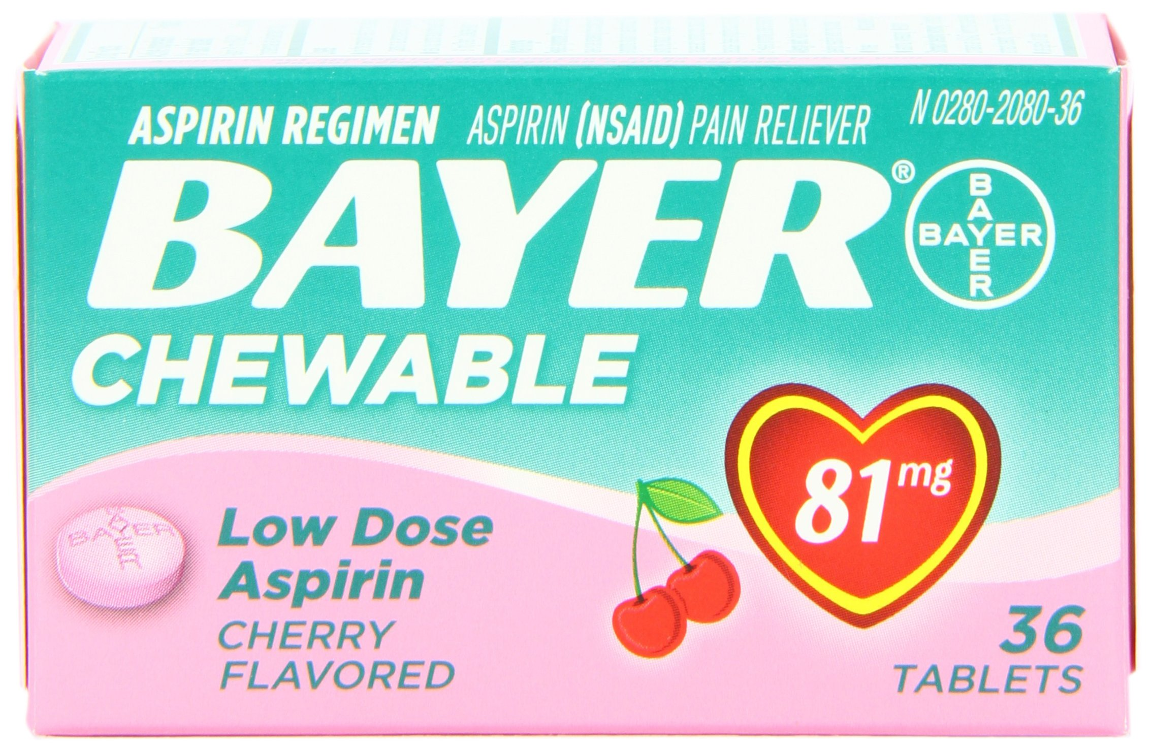 Bayer Chewable Low Dose Baby Aspirin Cherry 81 Mg 36-Count (Pack of 3)