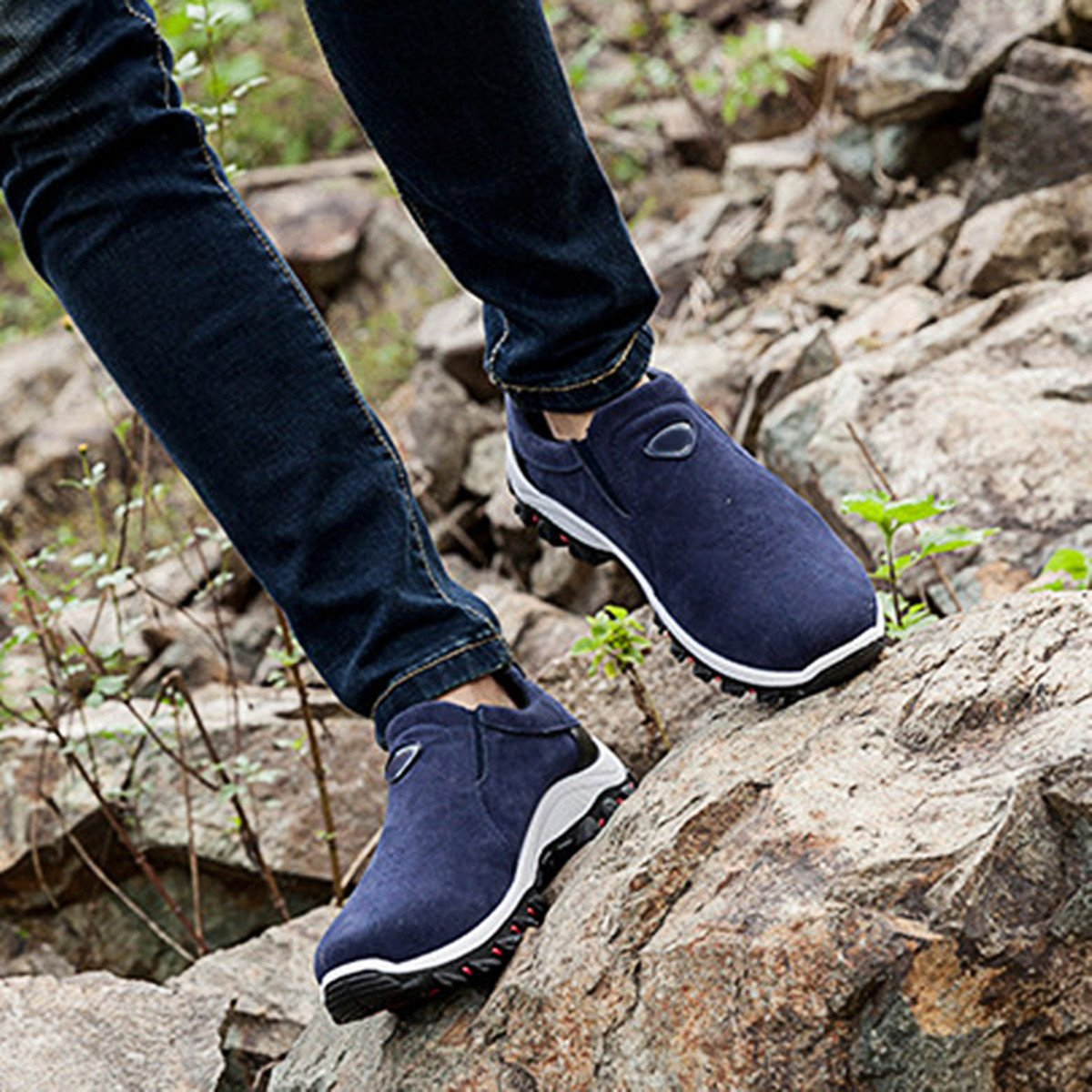 gracosy Mens Hiking Trekking Shoes Suede Slip On Men Trainers Shoes Spring Summer Outdoor Sports Running Camping Sneaker Casual Walking Loafers Flat Non Slip Athletic Breathable Anti-Slip Shoes Size