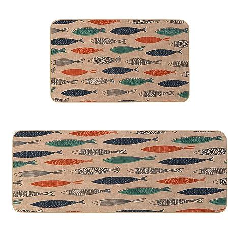 Kitchen Mat Set, KIMODE 2 Piece Microfiber Kitchen Rugs Cushioned Chef Soft  Non Slip