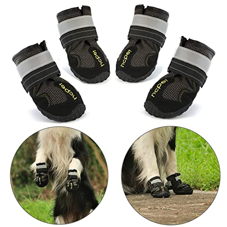 6089b1c8367 Hcpet Dog Boots Paw Protector, Set of 4 Waterproof Anti-Slip Soft Dog Shoes  with Reflective Magic Straps for Medium and Large - Black
