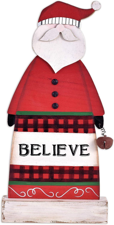 Sunset Vista Designs Wooden Tabletop Decor Downhome Christmas, 16-Inch, Believe Santa