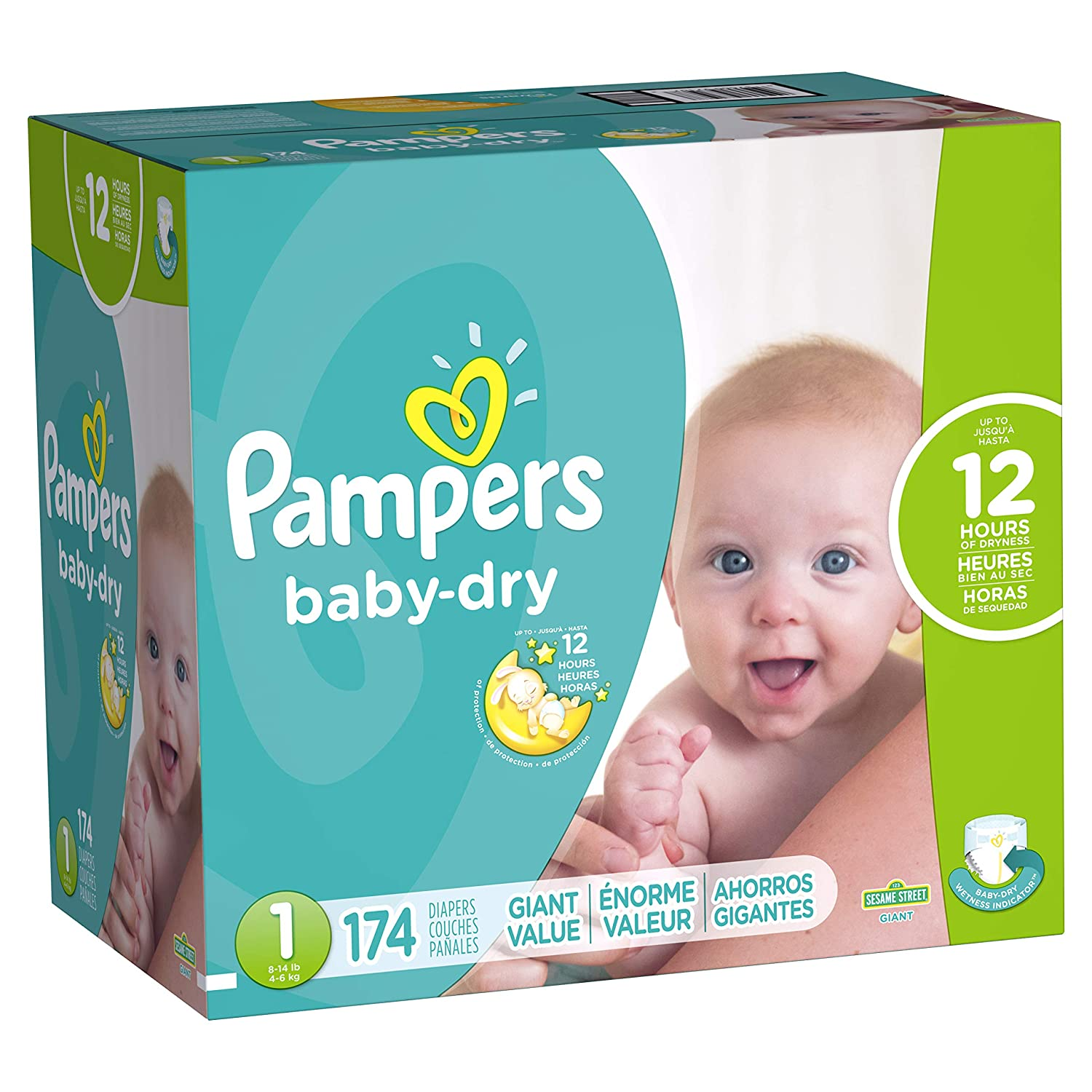 Amazon.com: Pampers Baby Dry Newborn Diapers Size 1, 174 Count: Health & Personal Care
