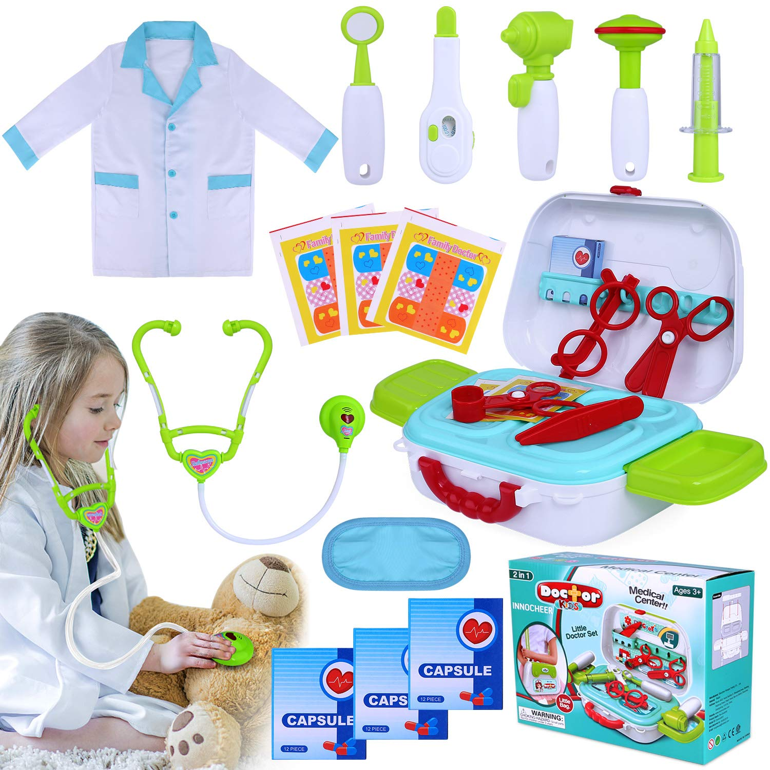 INNOCHEER Kids Doctor Kit 20 Pieces Pretend-n-Play Medical Toys Set with Roleplay Doctor Costume and Carry Case for Little Girls, School Classroom by INNOCHEER
