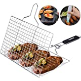 ACMETOP BBQ Grill Basket, Stainless Steel Grilling Basket with Removable Handle, Perfect for Grilling Vegetables, Fishes…