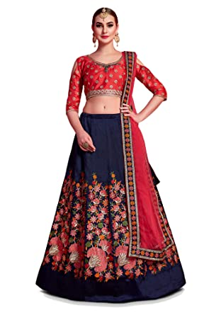 3c39342ea25a1 Image Unavailable. Image not available for. Colour: Shree Impex Women's  Embroidered Heavy Art Silk Semi stitched Lehenga Choli with Dupatta (Navy  blue