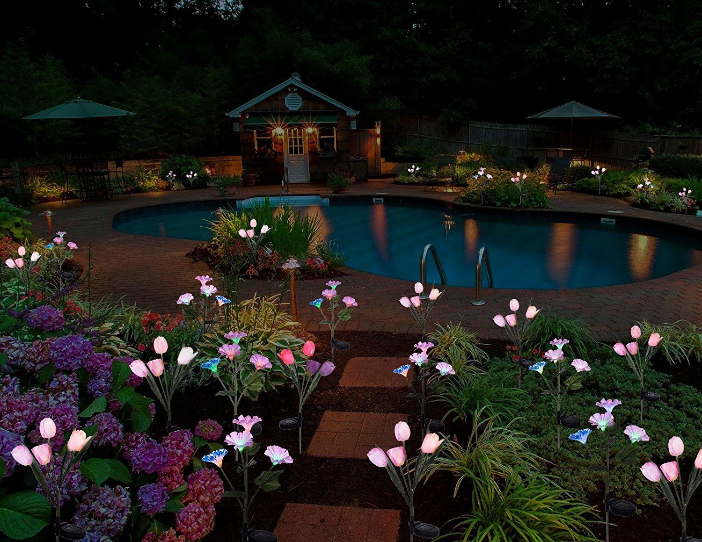 Lampada Fiore Tulipano : Tulipani fluorescenti da esterno a energia solare ideali per