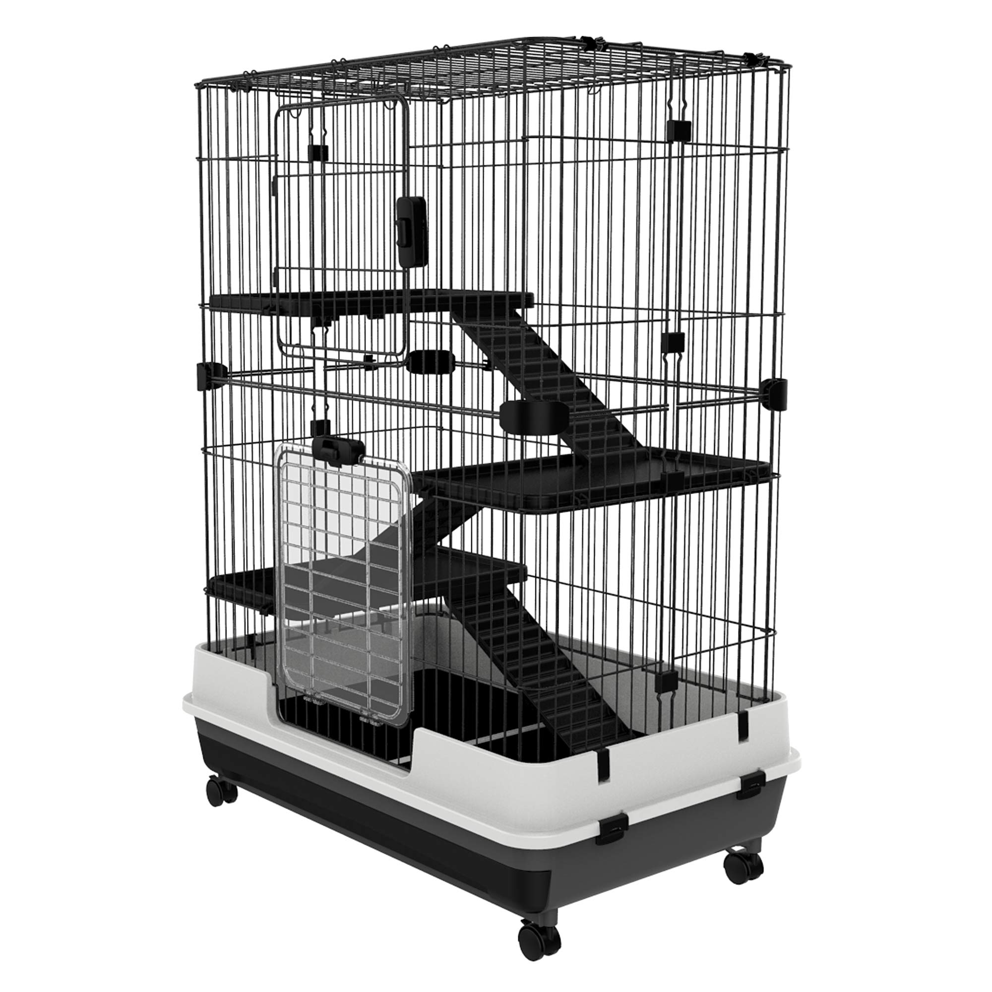 PawHut 32''L 4-Level Indoor Small Animal Rabbit Cage with Wheels - Black by PawHut