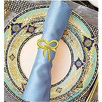 Anillos de servilleta dorados, 6 unidades, anillos de servilleta con lazo, hebillas para bodas, cenas, fiestas…