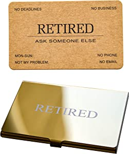 RXBC2011 Retired Business Cards Kraft Rustic Funny Retirement Gift (Pack of 50/With Gold Mirror Stainless Steel Case) For Retired Men, Women, Coworkers, Employees, Boss, Friend, Colleague