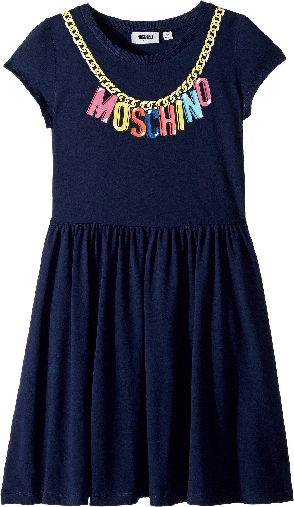 Moschino Kids Girl's Short Sleeve Logo Necklace Graphic Dress (Big Kids) Navy 14