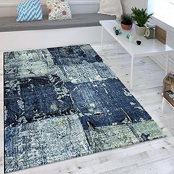 Paco Home Wohnzimmer Teppich Ölgemälde Optik Indigo Blau Weiß Grau Modern  Eyecatcher, Grösse:160x230