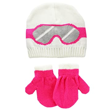 33ee86d5dce Image Unavailable. Image not available for. Color  Carter s Baby Girls Ski  Goggle Winter Knit Beanie Hat and Mitten Set ...