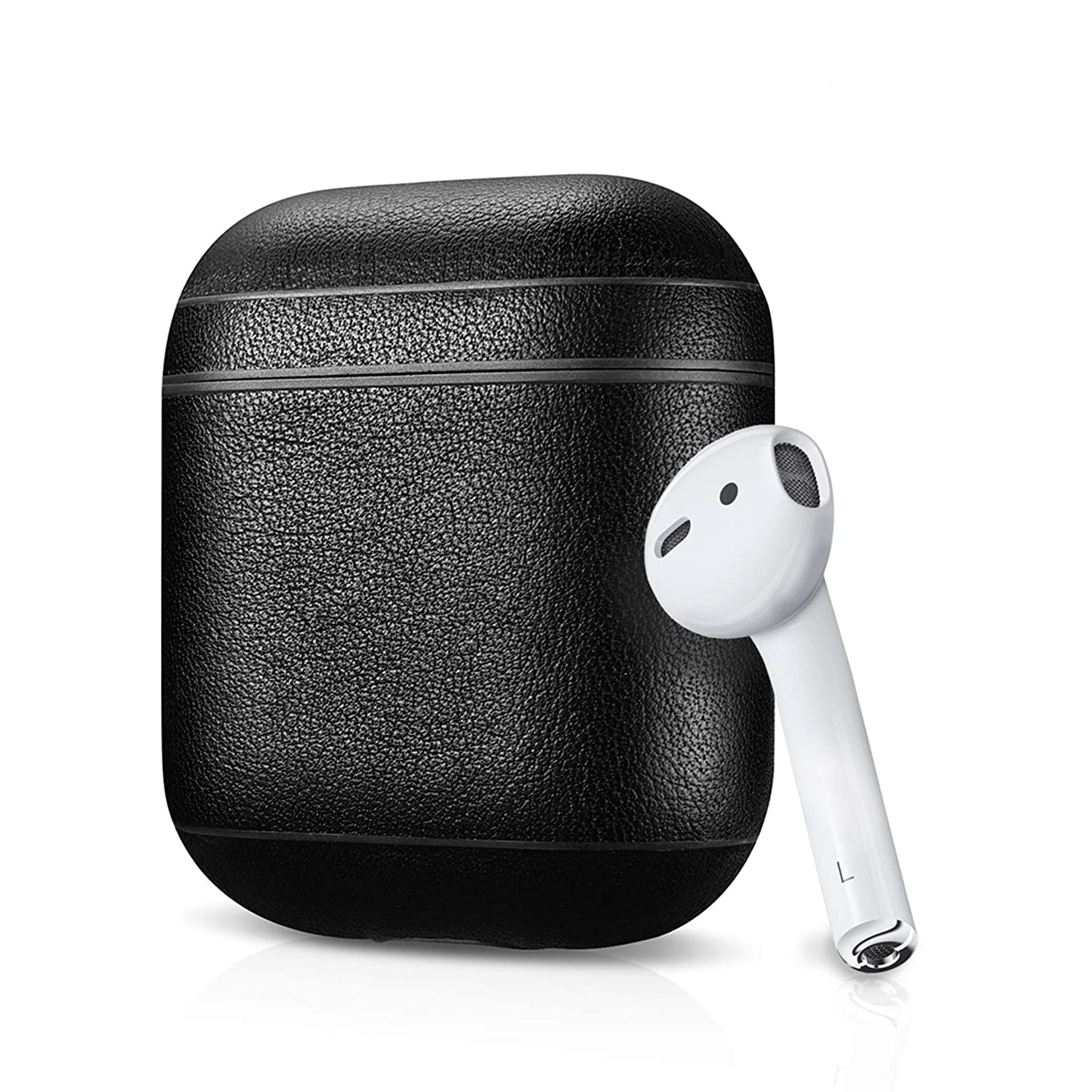 f1cb8b8a5a5 Amazon.com: Leather Case Apple AirPods, Classic Series - Air Vinyl Design, Protective  Case Cover (Black): Home Audio & Theater