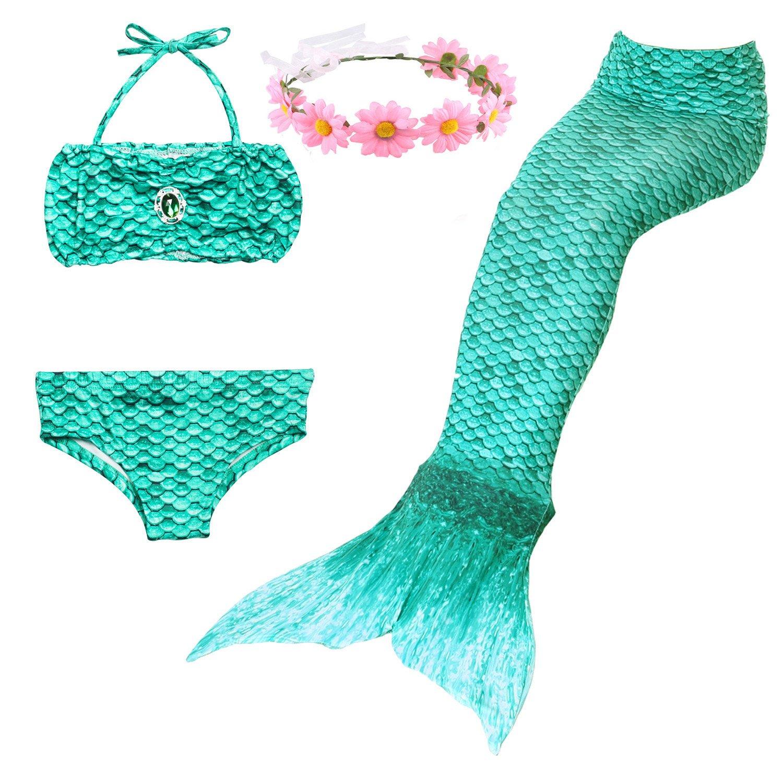 Shiny Toddler 3PCS Girls Swimmsuit Mermaid Tail for Swimming Fashion Bikini Set 5-6,Style1