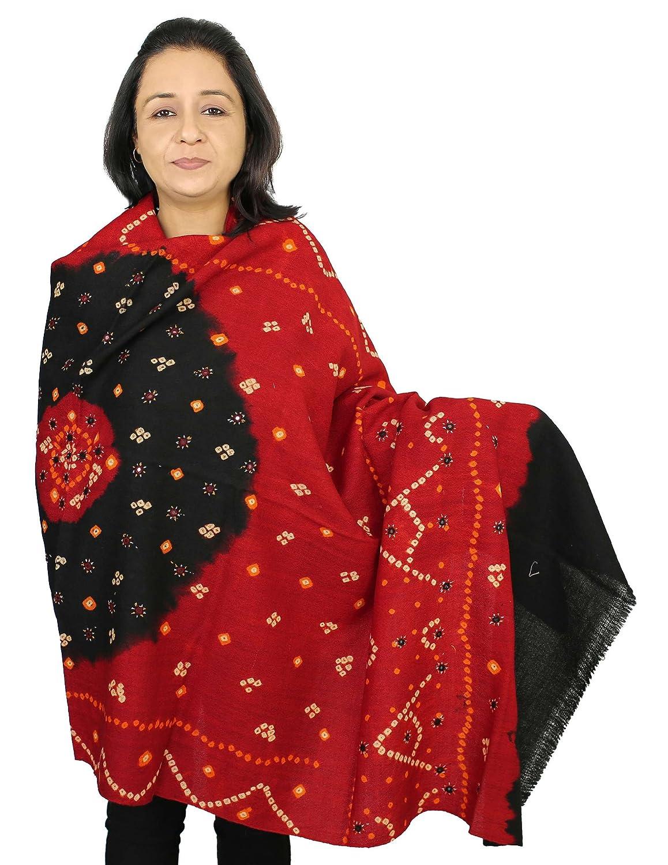 Woll Schal für Frauen, Tie-Dye Und Stickerei, Handgefertigt in Indien 198 cm x 92 cm