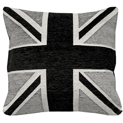 Just Contempo Union Jack Cushion Cover, Black, 18x18 inches