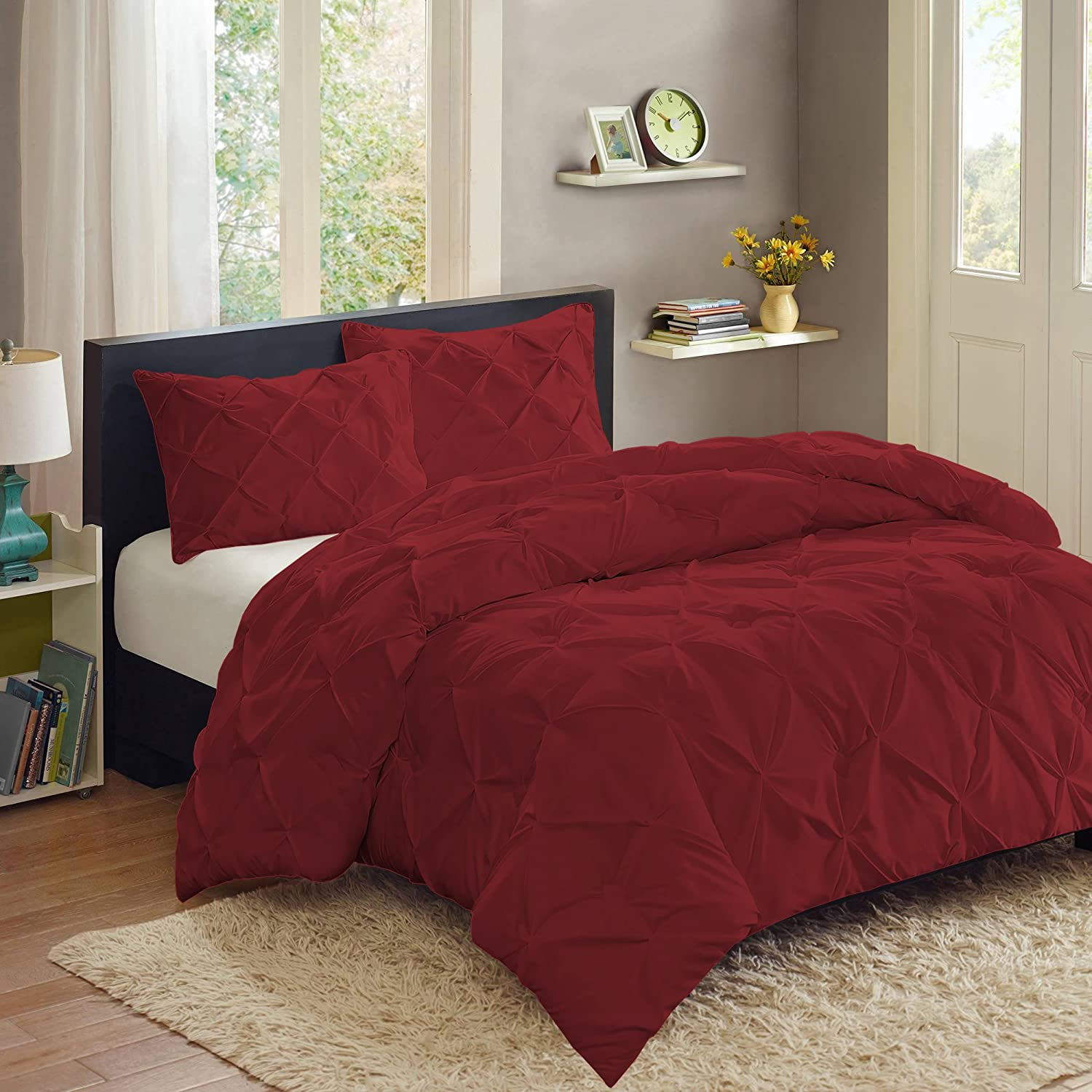 3 Piece PP Luxury Pinch Pleat Pintuck Fashion Duvet Set, King, Burgundy