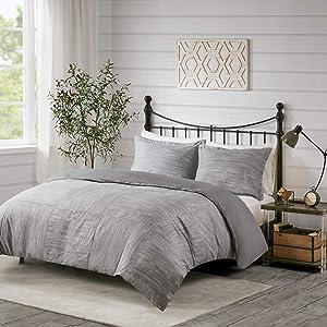 """Madison Park Walter Duvet Set - Luxe Seersucker Print Modern Design, All Season Bedding, Matching Shams Grey Full/Queen(90""""x90"""") 3 Piece"""